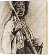 Hendrix-antique Tint Version Wood Print