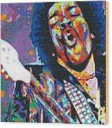 Hendrix Wood Print by Maria Arango