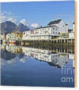 Henningsvaer Harbour Wood Print