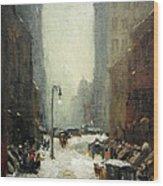 Henri's Snow In New York Wood Print