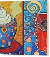 Her And His Coffee Cups Wood Print