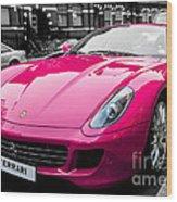 Her Pink Ferrari Wood Print by Matt Malloy