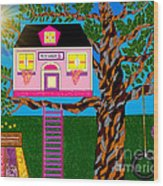 Her Tree House Wood Print