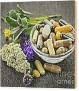 Herbal Medicine And Herbs Wood Print