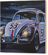 Herbie The Love Bug Painting Wood Print