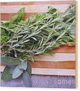 Herbs On Cutting Board Wood Print