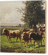 Herd Of Cows Wood Print