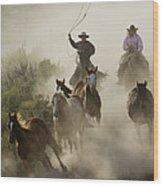 Herding Horses Oregon Wood Print
