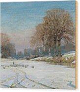 Herding Sheep In Wintertime Wood Print by Frank Hind