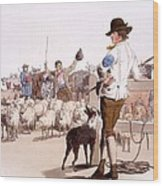 Herdsmen Of Sheep And Cattle, From The Wood Print by William Henry Pyne