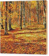Here Comes Fall Wood Print
