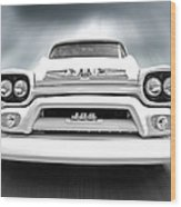 Here Comes The Sun - Gmc 100 Pickup 1958 Black And White Wood Print