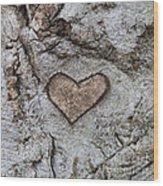 Here Is My Heart Wood Print