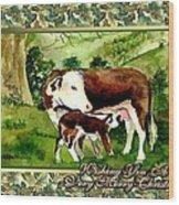 Hereford Cow And Calf Blank Christmas Card Wood Print