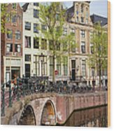 Herengracht Canal Houses In Amsterdam Wood Print