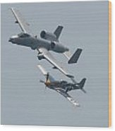 Heritage Flight A10 And P51 Wood Print