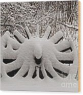 Heritage Wagon Wheel After A Winter Snow Storm Wood Print