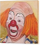 Watercolor Clown #9 Herky The Clown Wood Print