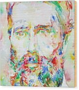 Herman Melville Watercolor Portrait.1 Wood Print