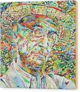 Hermann Hesse With Hat Watercolor Portrait Wood Print