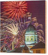 Hermann Mo Courthouse On July 4th Wood Print