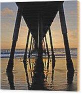 Hermosa Pier At Sunset Wood Print