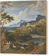 Heroic Landscape With Rainbow Wood Print