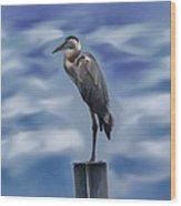 Heron 1 Wood Print