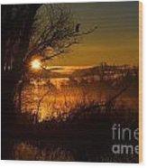 Heron At Sunrise Wood Print