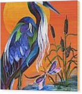 Heron Blue Wood Print
