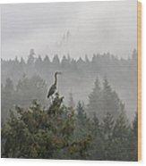 Heron In The Mist Wood Print