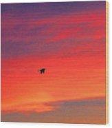 Heron Into The Sunset Wood Print