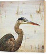 Heron Wood Print by Marty Koch