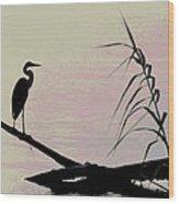 Heron Morning Wood Print