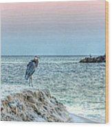 Heron On Beach Wood Print