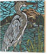 Heron On Connor Creek Wood Print