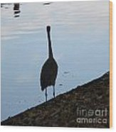 Heron On The River Wood Print