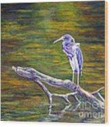 Heron Watching Wood Print