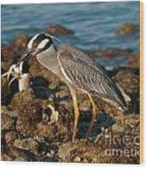 Heron With Crab Wood Print