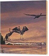 Herons At Sunset Wood Print