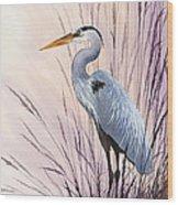 Herons Driftwood Home Wood Print