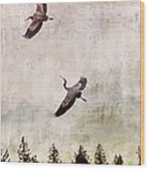 Herons In Flight Monotone Wood Print