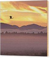 Heron's Sunrise Wood Print