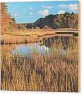 Herring River Cape Cod Marsh Grass Autumn Wood Print