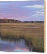 Herring River Marsh Cape Cod Autumn Sunset Wood Print