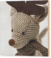 Herringbone Reindeer Wood Print by Anne Gilbert