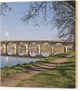 Hexham Bridge And Riverside Path Wood Print