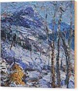 Heystack In The Snow Wood Print