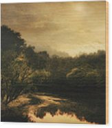 Hiawassee River At Dawn Wood Print by William Schmid