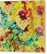 Hibiscus Impressionist Wood Print
